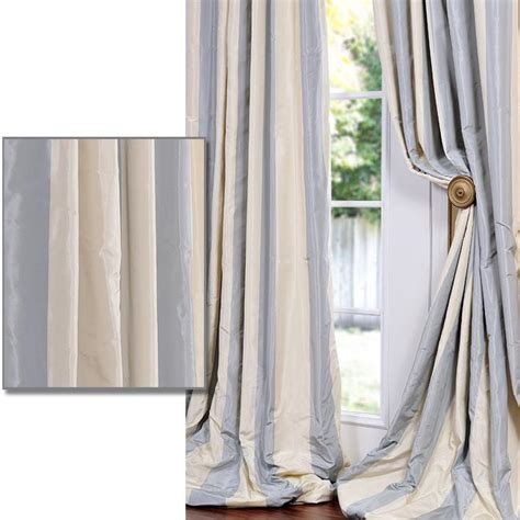 Silk Striped Drapes - shop exclusive fabrics baby blue striped faux silk