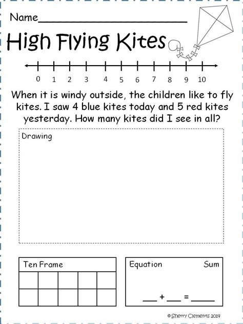 worksheets kindergarten addition word problem