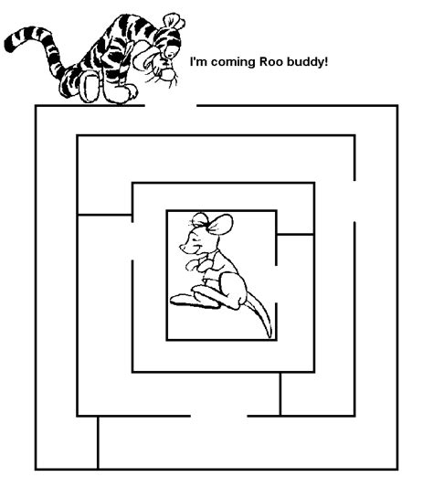 easy mazes printable mazes for best coloring 986 | Easy Mazes Tigger