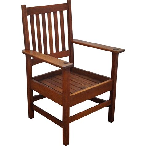 quaint stickley antique mission oak arm chair from bucks