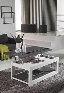 Table Basse Blanc Gris : table basse relevable blanc ou blanc et gris cendr contemporaine molly ~ Nature-et-papiers.com Idées de Décoration