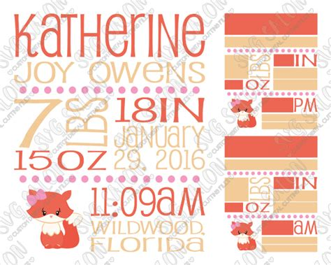 Get inspired by 115 professionally designed birth announcements invitations & announcements templates. Baby Girl Fox Birth Announcement Template SVG Cut File Set