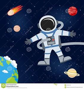 Outer Space With Astronaut & Planets Stock Vector ...