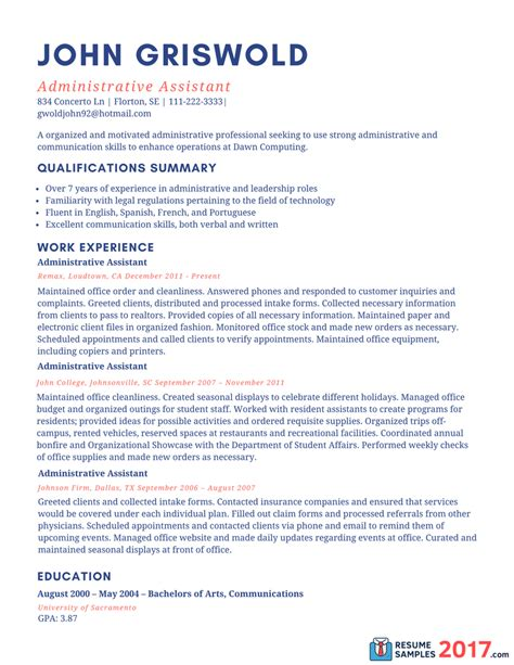 Writing A Resume 2017 by Sle Resume For Administrative Assistant 2016 What To Write Resume Sles 2017