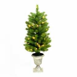 Pre Lit Christmas Trees Uk by 3ft Potted Slim Pre Lit Artificial Christmas Tree Pe