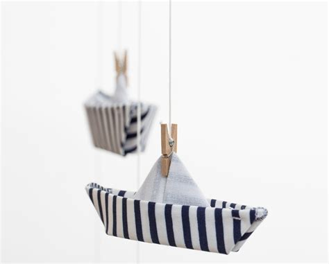 Origami Boat Mobile by Boat Fabric Origami Mobile Nursery Decoration By