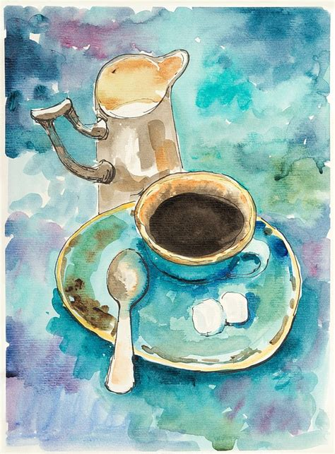 Easy painting tutorial in acrylics for beginners. Coffee painting. Painting for coffee lovers. Original ...