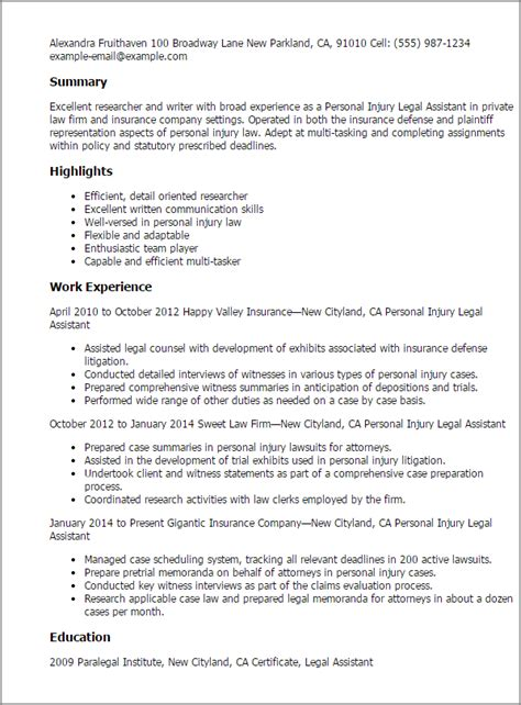 How To Ask For A Resume Critique by Professional Personal Injury Assistant Templates To Showcase Your Talent Myperfectresume