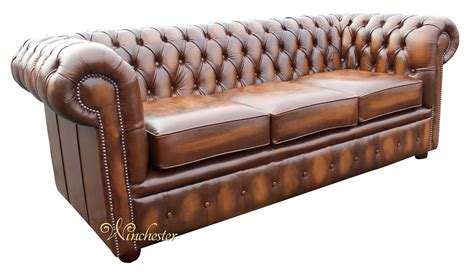 Chesterfield Settees by Chesterfield 3 Seater Antique Leather Sofa