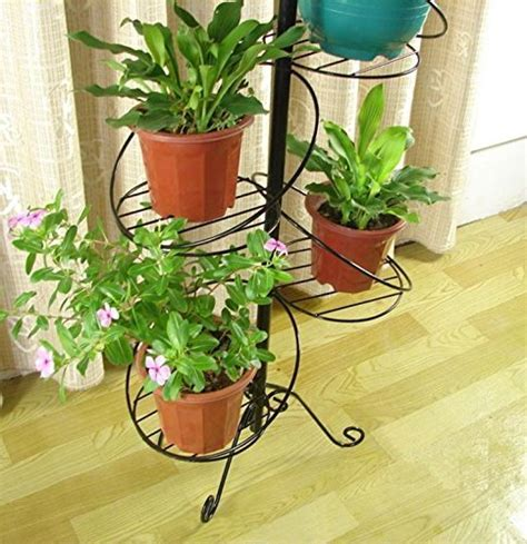 White Spiral Design 7 Tier Metal Planter Holder Display