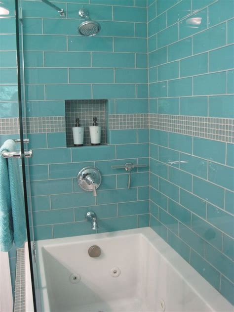 Glass Tile Bathroom Ideas by Aqua Glass 4 Quot X 12 Quot Subway Tile In 2019 Bathrooms