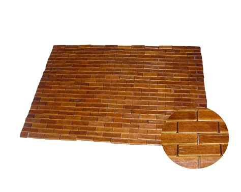 tapis de bain bois de bambou teck tapis bois salle de