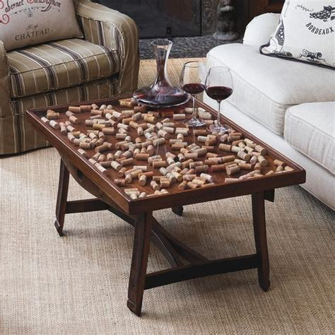 Cork Collector Coffee Table With Barrel Stave Legs At