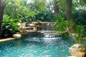 Waterfall and tropical garden - Tropical - Pool - other