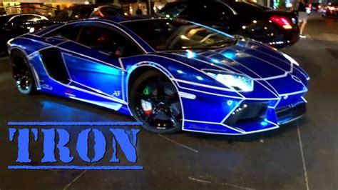 Tron Look On Lamborghini Aventador Blue Chrome !