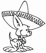 Coloring Mexican Dog Hat Pages Wearing Dogs Wiener Chihuahua Hats Printable Tin Mexico Cartoon Colorluna Dance Colors Wear Netart Clipart sketch template