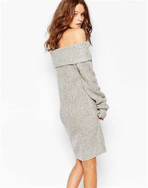 Lyst - Fashion union Knitted Off Shoulder Sweater Dress in Gray