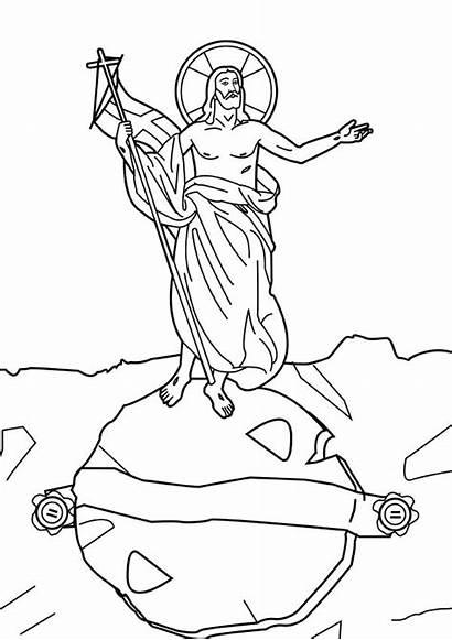 Jesus Coloring Resurrection Pages Crucifixion Risen Tomb