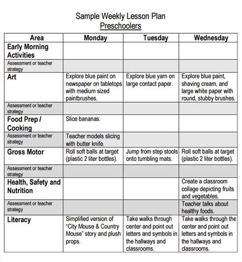 weekly preschool lesson plans preschool lesson plan template 11 free pdf doc 570