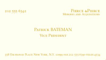 american psycho business cards  latex