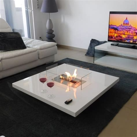 coffee table fireplace  remote ethanol burner insert lou