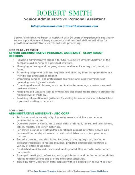 Senior Administrative Assistant Resume by Administrative Personal Assistant Resume Sles Qwikresume