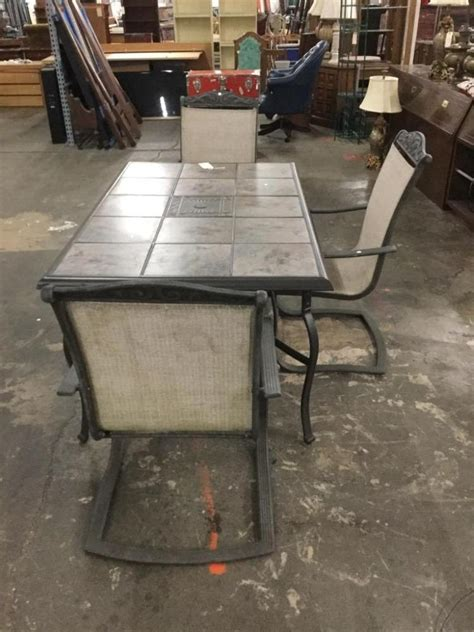 outdoor metal patio table w removable ceramic tiles and 3 c
