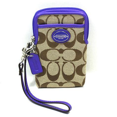 coach legacy signature universal case wristlet iphone    case purple  coach
