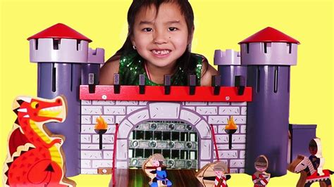 Jannie Pretend Play With Wooden Castle Playset Youtube