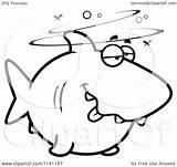 Shark Drunk Cartoon Clipart Coloring Vector Outlined Thoman Cory Regarding Notes sketch template