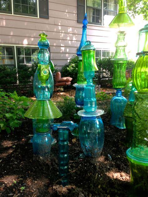 juxtaposejanes glass totem garden note  blue glass