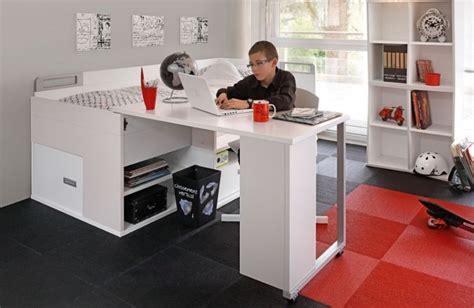lit et bureau ado lit adolescent pas cher avec rangements et bureau gautier
