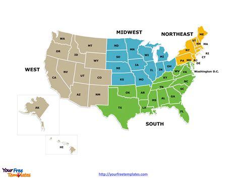 census bureau usa free usa region powerpoint map free powerpoint templates