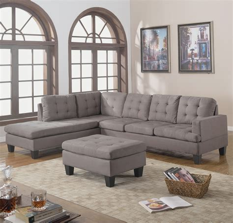 Chaise And Ottoman by Contemporary 3pc Grey Sectional Sofa Microsuede Reversible