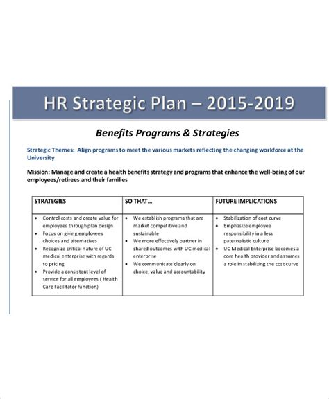 Hr Strategic Planning Template by 40 Strategic Plan Templates Free Premium Templates