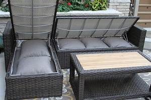 3pc teak brown wicker sectional sofa set with for Outdoor sectional sofa with storage