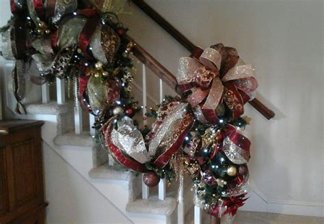lighted garland for staircase christmas staircase swag lighted stairway garland designer