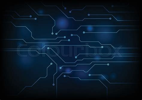 dark blue circuit board technology stock vector