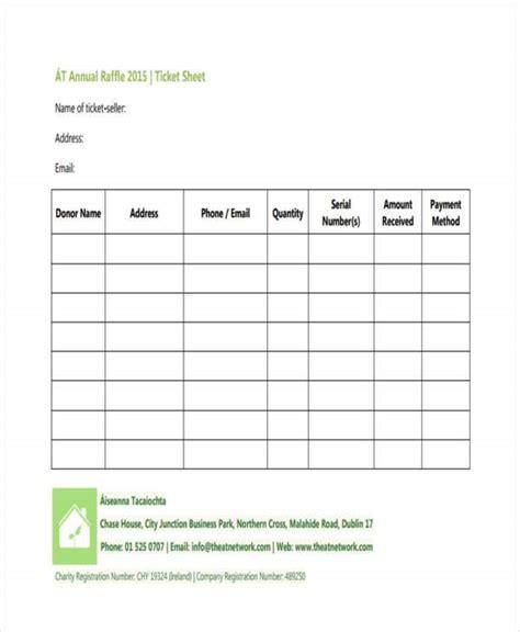 raffle sheet templates  sample  format