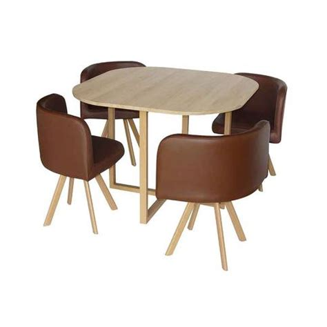 table encastrable cuisine table avec 4 chaises encastrables marron 100x100x75 cm
