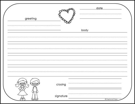 write  friendly letter  printables writing