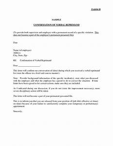 Sample employment disciplinary letter sample verbal for Letter of reprimand template