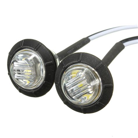 2x 12v white led side marker light indicator l truck