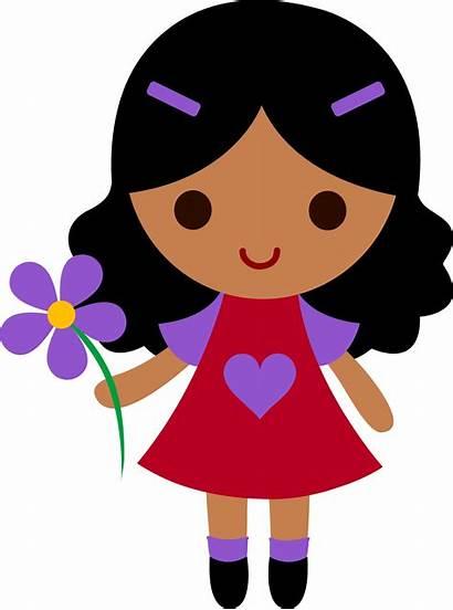 Flower Clip Purple Holding Clipart Kid Daisy