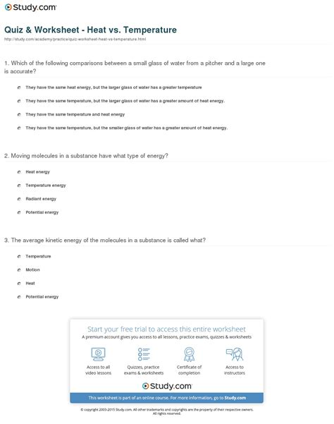 Quiz & Worksheet  Heat Vs Temperature Studycom
