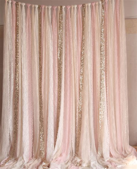 Diy Backdrop Decorations by Blush Pink White Lace Fabric Gold Sparkle Photobooth