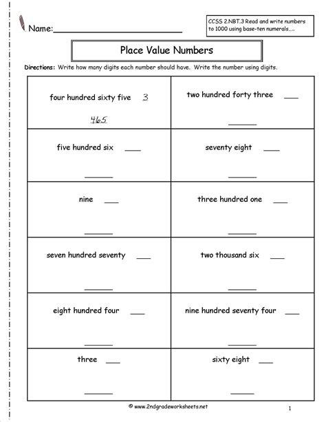 worksheet for place value grade 2 kidz activities