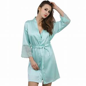 New solid satin chiffon robe spring summer sexy women for Robe chiffon
