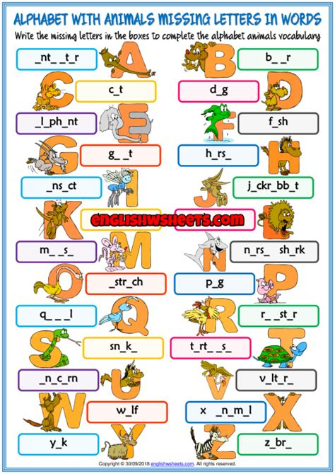 alphabet  animals missing letters  words worksheet