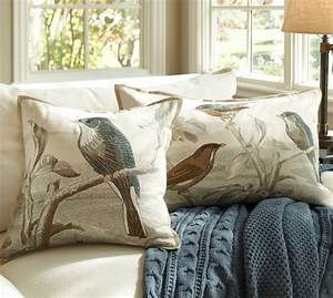 Sky bird embroidered pillow covers pottery barn for Bird pillows pottery barn